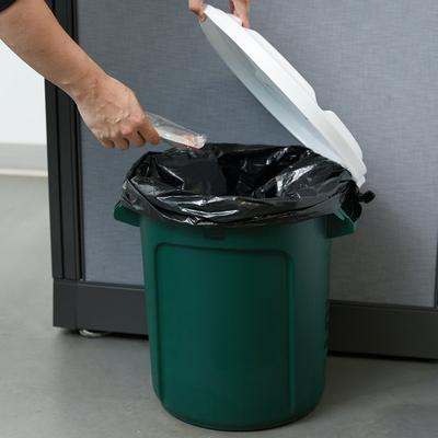 Rubbermaid BRUTE 10 Gallon Green Recycling Can with White...