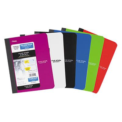"""FiveStar 09120 9 3/4"""" x 7 1/2"""" Assorted Color College Rul..."""