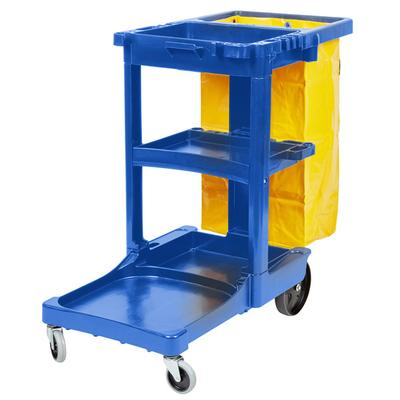 Rubbermaid FG617388BLUE Blue 3 Shelf Janitor Cart with Vi...