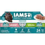 Iams Perfect Portions Indoor Multipack Salmon Turkey Recipe Pate Grain-Free Cat Food Trays, 2.6-oz, case of 12 twin-packs | White Wine Red