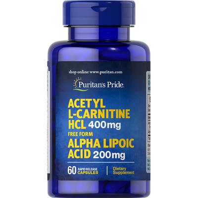Puritan's Pride Acetyl L-Carnitine Free Form 400 mg with Alpha Lipoic Acid 200 mg-60 Capsules