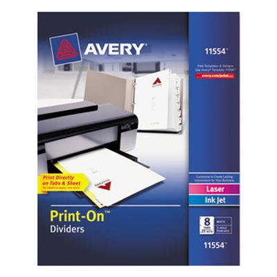 Avery 11554 Print-On 8-Tab White Divider Set - 25/Pack