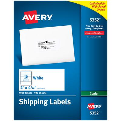 "Avery 5352 2"" x 4 1/4"" White Copier Shipping Labels - 100..."
