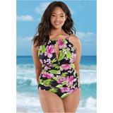 """Venus Women's Plus Size The Aloha One-Piece One-Piece Swimsuits & Monokinis - Black/green/pink"""