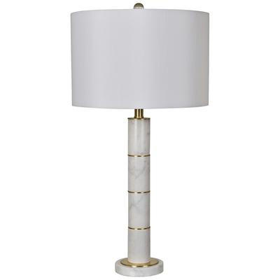 Crestview Collection Farallon White Marble Column Table Lamp