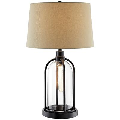 Lite Source Anton Black Metal and Clear Glass Table Lamp