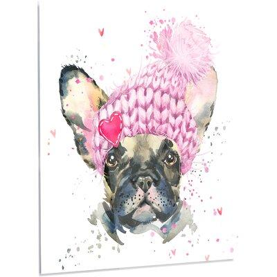 DesignArt 'French Bulldog with Pink Hat' Painting Print o...