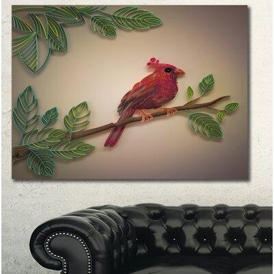 DesignArt 'Red Paper Quilling of Cardinal Bird' Graphic A...