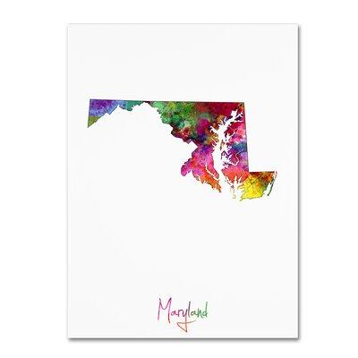 "Trademark Art ""Maryland Map"" by Michael Tompsett Graphic ..."