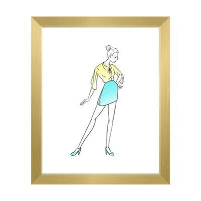 Click Wall Art Cyan Shirt Dress Fashion Framed Painting P...