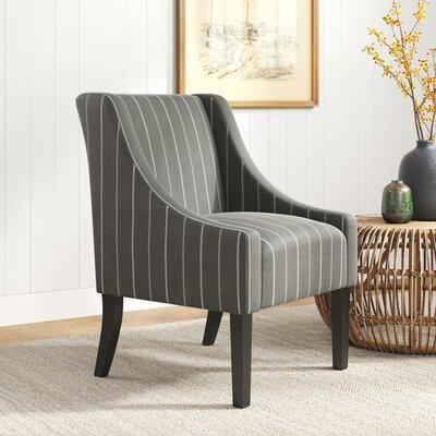 Laurel Foundry Modern Farmhouse Londonshire Modern Swoop Side Chair The swoop arm design, classic soft striped fabrics make this a beautiful addition to any room in your home. Designed to be a premium ageless style option that works with a broad range...