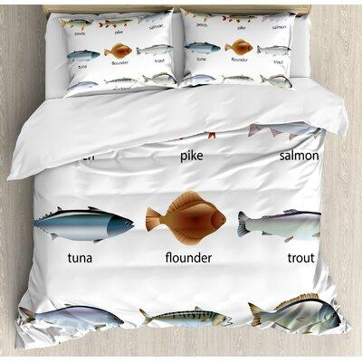 Ambesonne Ocean Animal Group of Fish with Perch Tuna Pike Flounder Mackerel Trout Aquatic Artwork Duvet Set nev_21269_ Size: Queen
