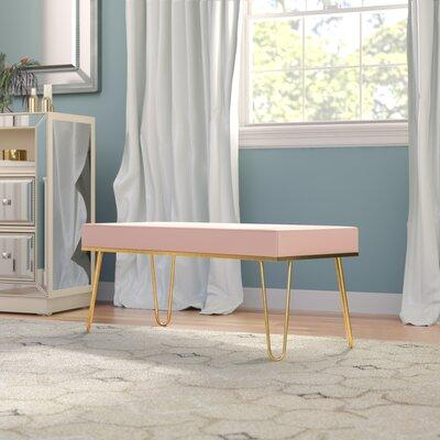 Mercer41 Icenhour Metal Bench MCRF7206 Upholstery: Blush