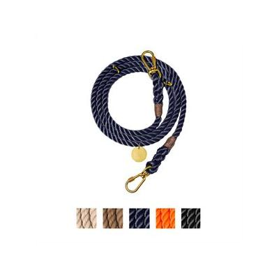 Found My Animal Adjustable Rope Dog Leash, Navy, 7-ft, Small