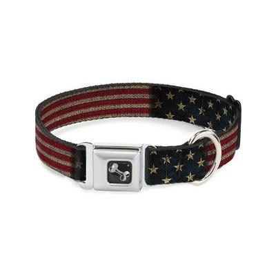 Buckle-Down Vintage US Flag Seatbelt Buckle Dog Collar, Wide Small; Your patriotic pooch will be walking tall and proud in the Buckle-Down Vintage US Flag Seatbelt Buckle Dog Collar. He's sure to turn heads in this unique design featuring Buckle-Down's...