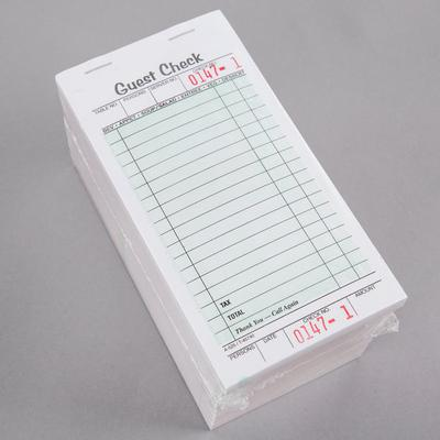 Adams 525SW 1-Part White / Green Guest Check Book with Re...