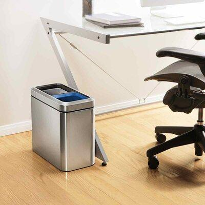 simplehuman Brushed Stainless Steel 20 Liter Fingerprint Proof Slim Dual Recycler Trash Can - BRUSHED ST