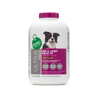 GNC Pets Ultra Mega Hip & Joint Health Beef Flavor Chewable Tablets Dog Supplement, 240 count