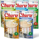 Inaba Churu Grain-Free Chicken, Tuna, Scallop Puree Variety Pack Lickable Cat Treat, 0.5-oz tube, pack of 20 | White Wine Red