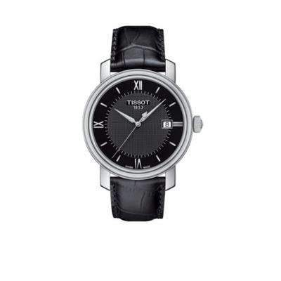 Tissot Black Men's Bridgeport Quartz Black Leather Watch