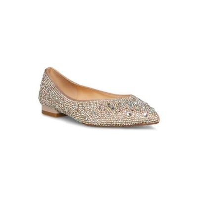 Betsey Johnson Nude Satin Jude Sparkle Flat