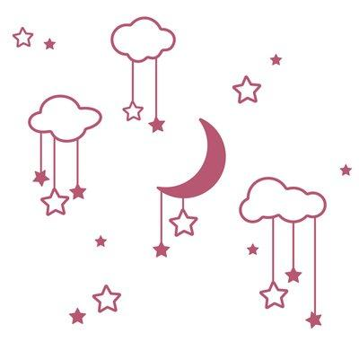 The Decal Guru Moon Stars and Clouds Wall Decal 2028-WALL...