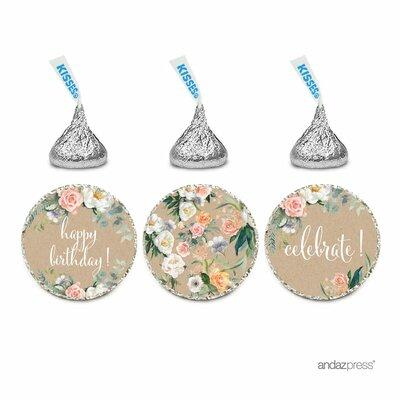 The Party Aisle Peach Kraft Brown Floral Happy Birthday! ...