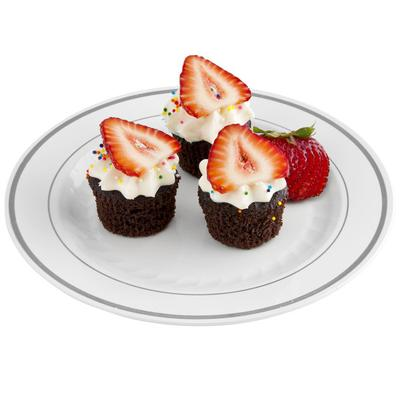 "WNA MP75WSLVR 7 1/2"" White Masterpiece Plastic Plate with..."