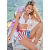 American Flag Denim Shorts - RED