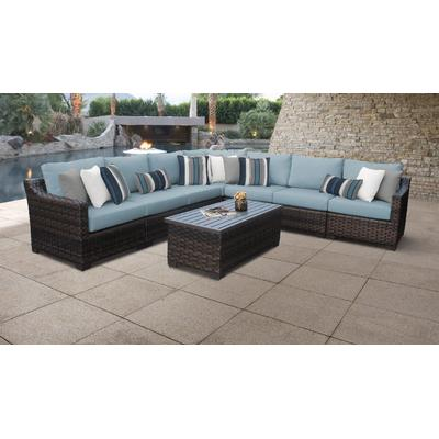 kathy ireland Homes & Gardens River Brook 8 Piece Outdoor Wicker Patio Furniture Set 08a in Tranquil - TK Classics River-08A-Spa