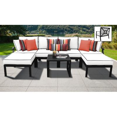 kathy ireland Homes & Gardens Madison Ave. 7 Piece Outdoor Aluminum Patio Furniture Set 07a in Snow - TK Classics Madison-07A