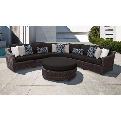 kathy ireland Homes & Gardens River Brook 6 Piece Outdoor Wicker Patio Furniture Set 06h in Onyx - TK Classics River-06H-Black