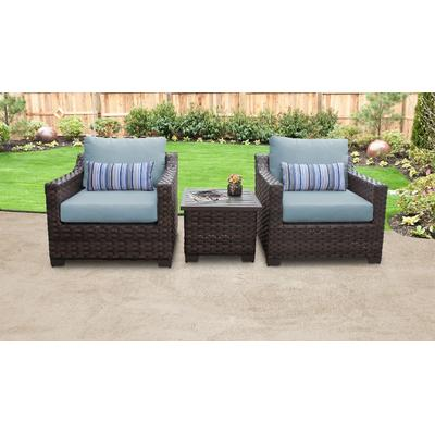 kathy ireland Homes & Gardens River Brook 3 Piece Outdoor Wicker Patio Furniture Set 03a in Tranquil - TK Classics River-03A-Spa