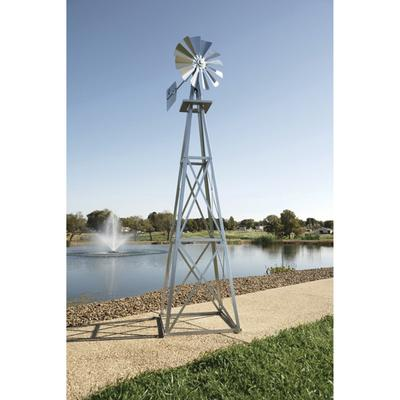 Outdoor Water Solutions Ornamental Garden Windmill - 11ft.6 Inch H, Galvanized Finish, Model BYW0003