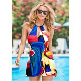 High Neck Swim Dress One-Piece Swimsuits & Monokinis - Blue/multi/red