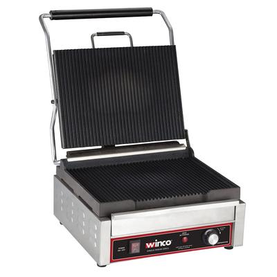 Winco EPG-1C Commercial Panini Press w/ Cast Iron Grooved Plates, 120v on Sale