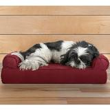 FurHaven Quilted Cooling Gel Top Sofa Pet Bed, Wine Red, Small | White Wine Red