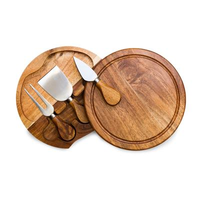 Toscana by Picnic Time Acacia Brie Cheese Cutting Board & Tools Set - Brown