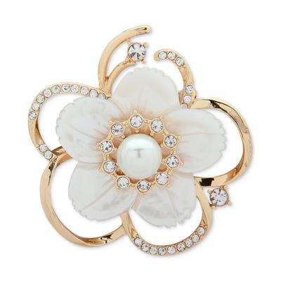 Anne Klein Gold-Tone Imitation Pearl, Mother-of-Pearl & Crystal Flower Pin, Created for Macy's - White