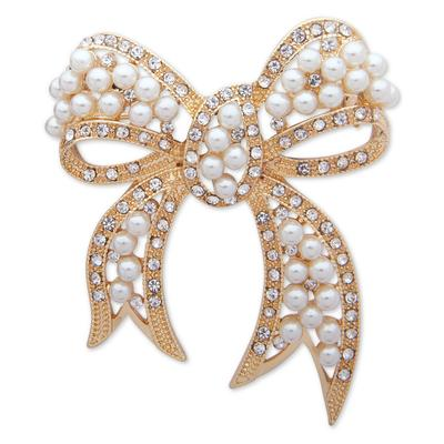 Anne Klein Gold-Tone Pave & Imitation Pearl Bow Pin, Created for Macy's - Gold