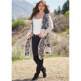 Plus Size Mixed Print Cardigan Sweaters - White/black