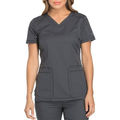 Dickies Women's Dynamix V-Neck Scrub Top With Patch Pockets - Pewter Gray Size 2Xl 2Xl (DK730)