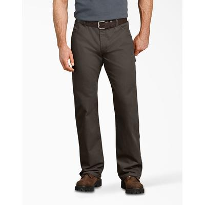Dickies Men's Relaxed Fit Straight Leg Carpenter Duck Jeans - Olive Green Size 36 30 (DU250)