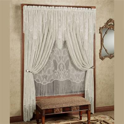Queens Lace Tailored Panel, 56 x 63, Antique White