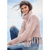 Cable Knit Fringe Sweater Sweaters - Pink