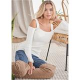 Cold Shoulder Sweater Sweaters - White
