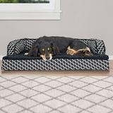 FurHaven Comfy Couch Orthopedic Bolster Dog Bed w/Removable Cover, Diamond Gray, Medium