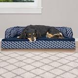 FurHaven Comfy Couch Orthopedic Bolster Dog Bed w/Removable Cover, Diamond Blue, Medium