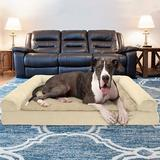 FurHaven Plush & Suede Memory Top Bolster Dog Bed w/Removable Cover, Clay, Jumbo Plus