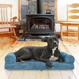 FurHaven Faux Fur Memory Top Bolster Dog Bed w/Removable Cover, Harbor Blue, Medium